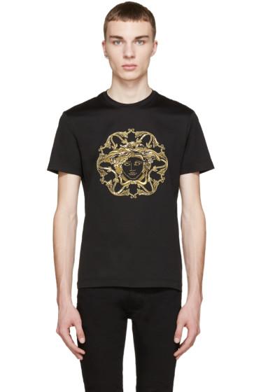 Versace - Black & Gold Embroidered Medusa T-Shirt