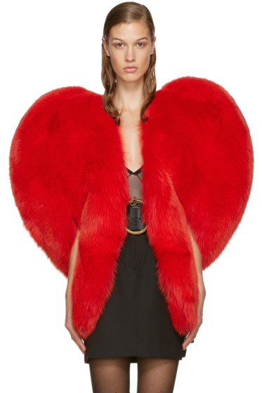 Saint Laurent - Red Fur Heart Cape