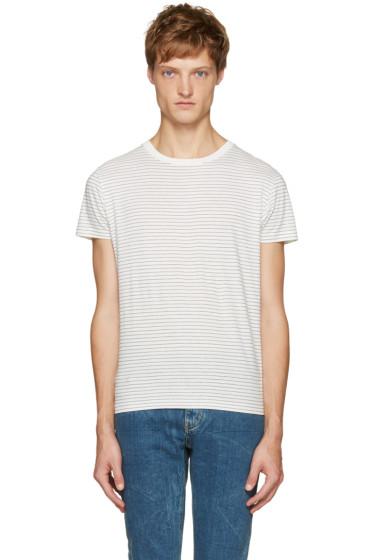 Saint Laurent - White & Black Striped T-Shirt