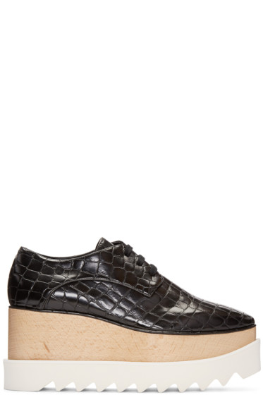 Stella McCartney - Black Croc-Embossed Platform Elyse Derbys
