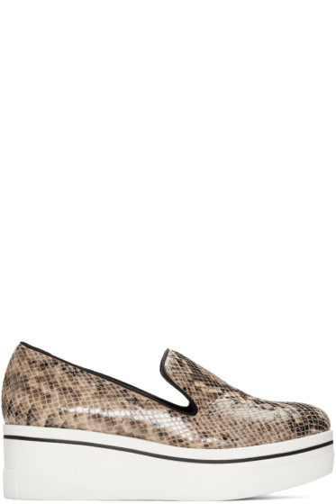 Stella McCartney - Beige Snake-Embossed Binx Loafers