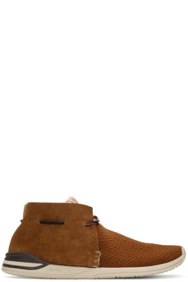 Visvim - Brown Huron Mesh Moc-Folk Sneakers