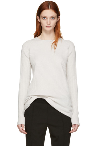 Haider Ackermann - Off-White Ribbed Crewneck Sweater