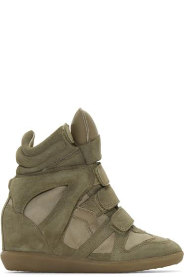 Isabel Marant - Taupe Suede Bekett Wedge Sneakers