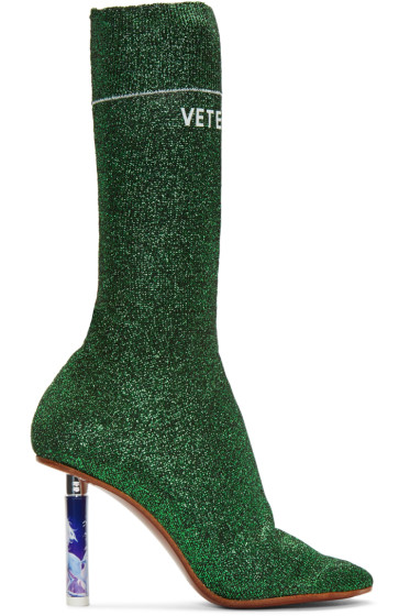 Vetements - Green Metallic Logo Sock Boots