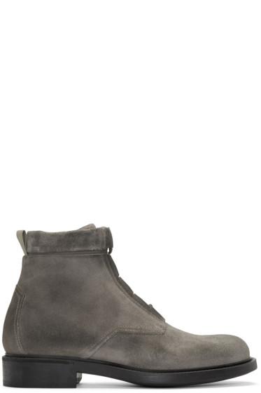 John Elliott - Grey Suede Combat Boots
