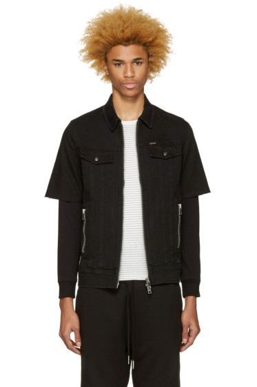 Diesel - Black Denim Layered Hober Jacket
