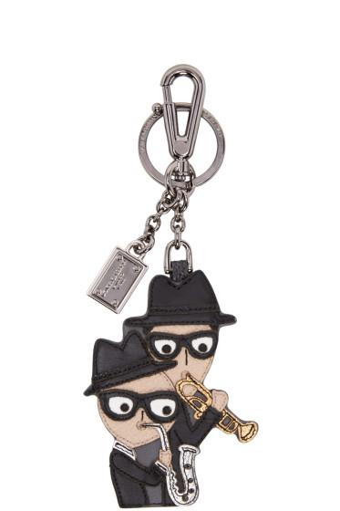 Dolce & Gabbana - Black Leather Family Keychain