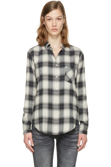 R13 - White Check Slim Boy Shirt