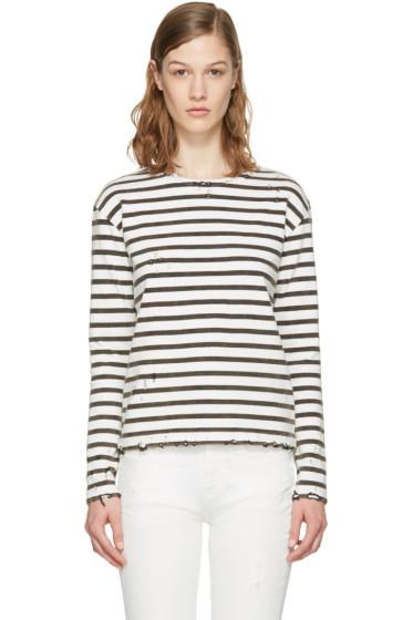 R13 - White Breton Stripe Long Sleeve T-Shirt