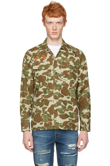Levi's - Green & Brown Camo Embroidered Shirt