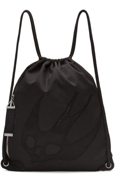McQ Alexander Mcqueen - Black Nylon Embroidered Rucksack