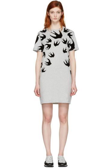 McQ Alexander Mcqueen - Grey Swallows T-Shirt Dress