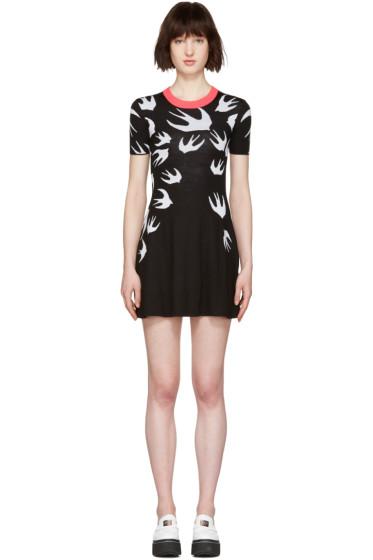 McQ Alexander Mcqueen - Black Wool Jacquard Swallows Dress
