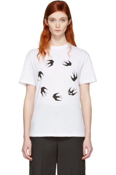 McQ Alexander Mcqueen - White Round Swallow Classic T-Shirt