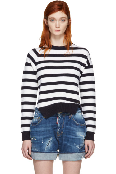 Dsquared2 - White & Navy Striped Sweater