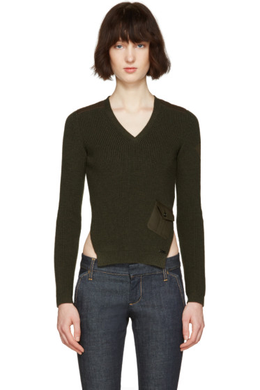 Dsquared2 - Green V-Neck Pocket Sweater