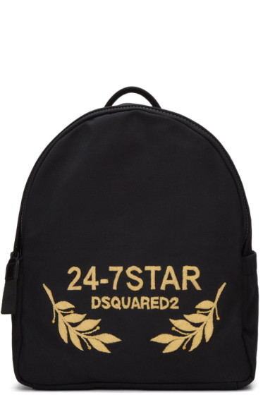 Dsquared2 - Black Canvas  Embroidered Backpack