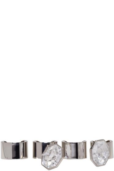Maison Margiela - Set of Silver Crystal Rings