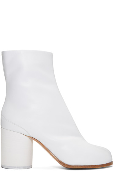 Maison Margiela - White Leather Tabi Boots