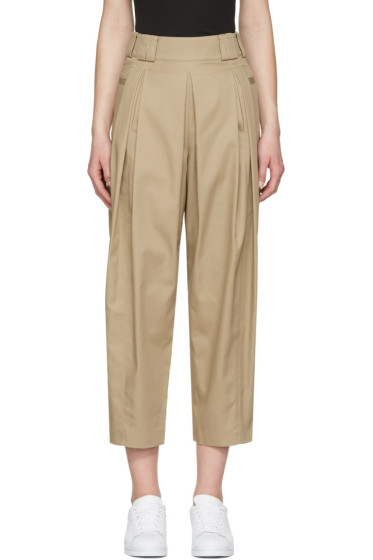 Alexander Wang - Beige High-Waisted Pleated Trousers