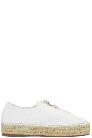 Alexander Wang - White Leather Zip-Up Devon Espadrilles