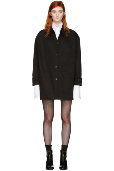 MM6 Maison Margiela - Black Denim Oversized Belted Jacket