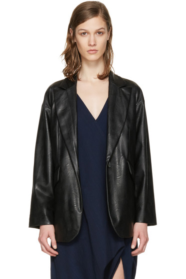 MM6 Maison Margiela - Black Faux-Leather Jacket