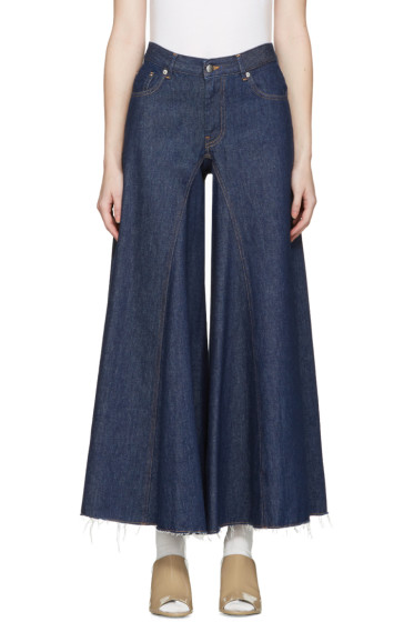 MM6 Maison Margiela - Indigo Raw Denim Wide-Leg Jeans