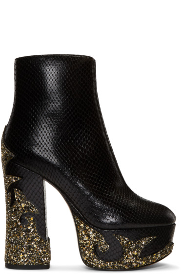 Marc Jacobs - Black Snake-Embossed Stasha Boots