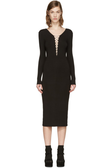 T by Alexander Wang - Black Lace-Up Dress
