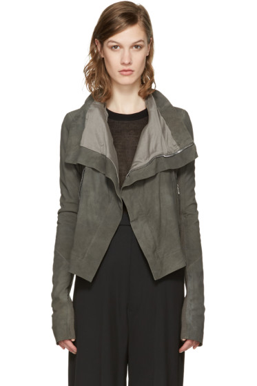 Rick Owens - Grey Classic Leather Biker Jacket