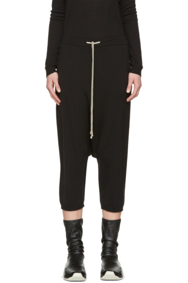 Rick Owens - Black Drawstring Cropped Lounge Pants