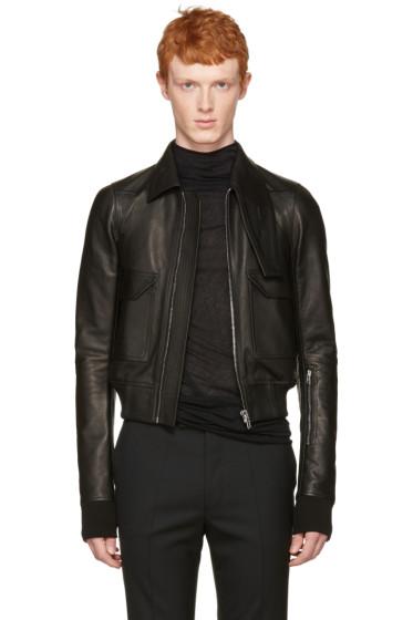 Rick Owens - Black Leather Glitter Jacket