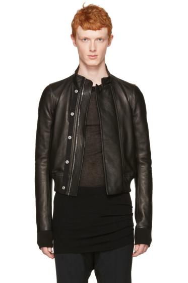 Rick Owens - Black Leather Glitter Egon Jacket