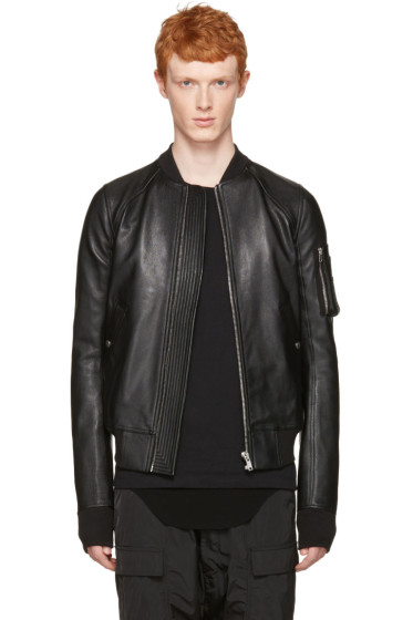Rick Owens - Black Leather Raglan Bomber Jacket