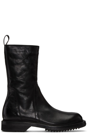 Rick Owens - Black Cracked Creeper Boots