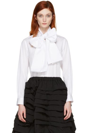 Comme des Garçons - White Lavalliere Bow Shirt