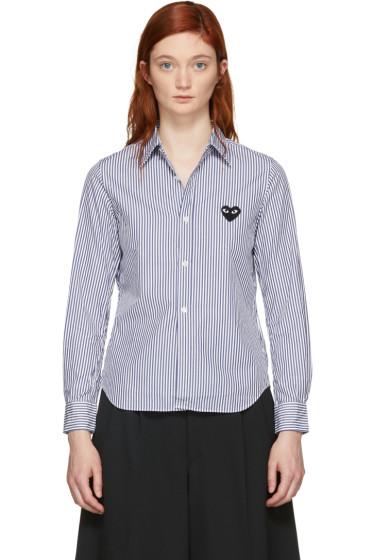 Comme des Garçons Play - Blue & White Striped Heart Patch Shirt