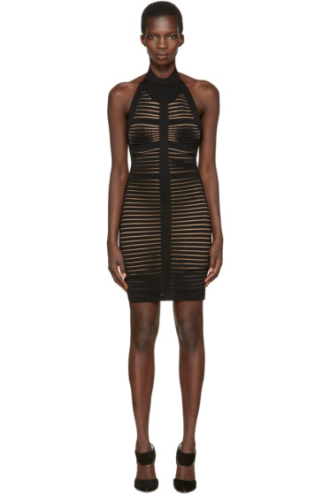 Balmain - Black Knit Halter Dress