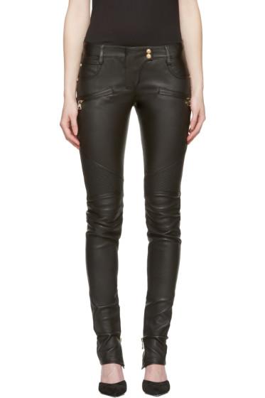 Balmain - Black Leather Biker Trousers