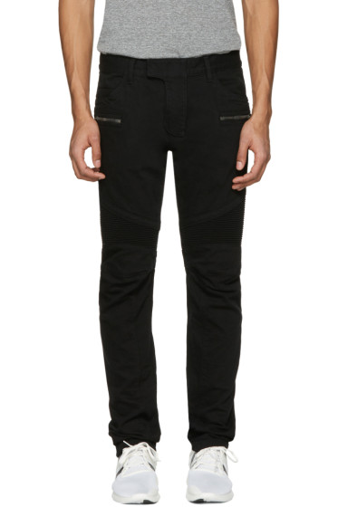 Balmain - Black Biker Rib Jeans