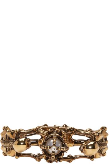 Alexander McQueen - Gold Two Skeletons Bracelet