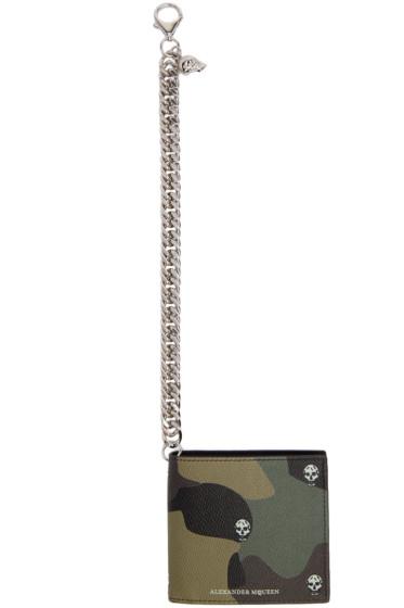 Alexander McQueen - Green Leather Chain Skull Wallet