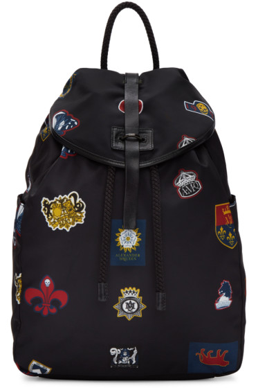 Alexander McQueen - Black Nylon Badges Backpack
