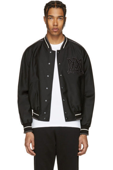 Alexander McQueen - Black Embroidered Logo Bomber Jacket