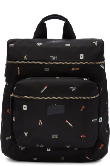 Paul Smith - Black 'Cufflink Charm' Print Backpack