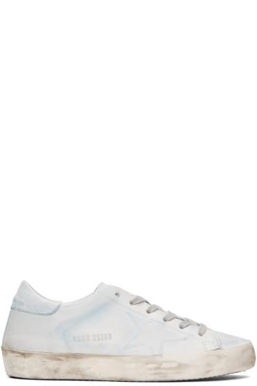 Golden Goose - Blue & White Superstar Sneakers