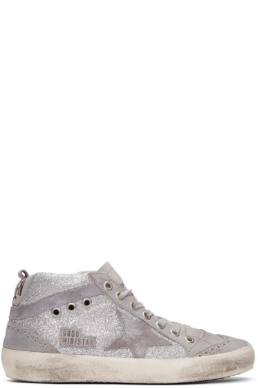 Golden Goose - Grey Glitter Mid Star Sneakers
