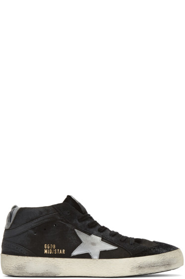 Golden Goose - Black Suede Mid Star High-Top Sneakers